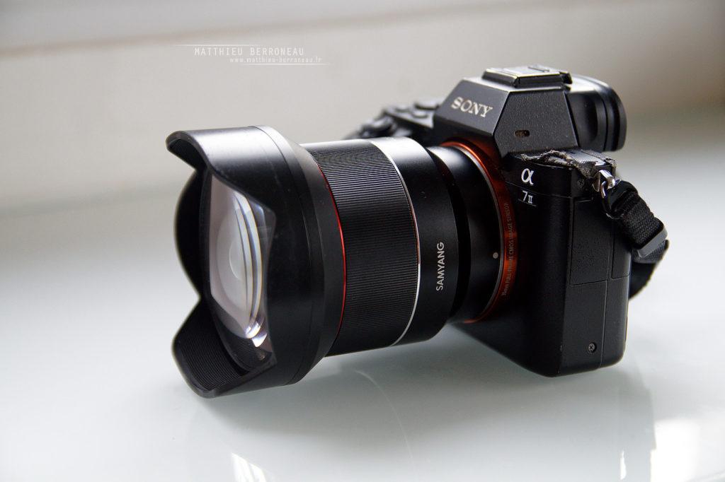 Le Samyang AF 14 f2.8 FE fixés sur mon désormais plus tout jeune Sony a7ii